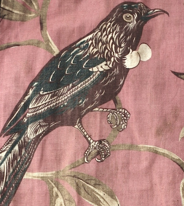 Detail (tui) from late 19th century printed cotton workbag (Collection Kemp House, New Zealand Historic Places Trust)