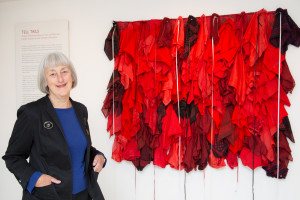 Christine Hellyar and Red Clouds. Photo: Mark Beatty for National Library of NZ