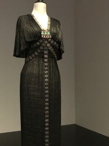 Edtih Head Ejyptain Style costume worn by Nina Foch in The Ten Commandments 1956 black gown long shot