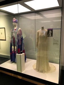 3.Wedding dress worn by the University of Otago's third female law graduate Marion Robertson on the occasion of her marriage to John Gilbert Thomson in 1937 and vestments made for the consecration in 1990 of Penelope Jamieson, the first woman in the world to head an Anglican diocese. / Toitū Otago Settlers Museum