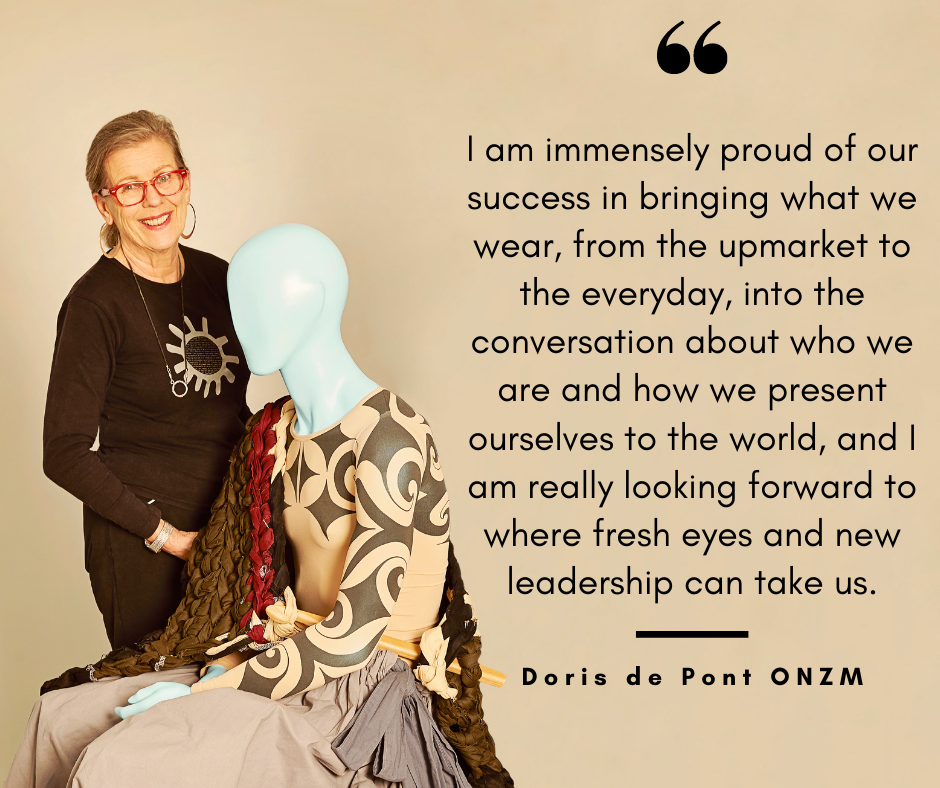 "Doris de Pont ONZM with Moana mannequin: ""I am immensely proud of our success in bringing what we wear, from the upmarket to the everyday, into the conversation about who we are and how we present ourselves to the world, and I am really looking forward to where fresh eyes and new leadership can take us."""